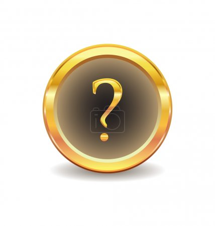 Gold button with question sign