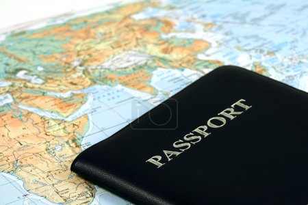 Photo for Travel with passport and map - Royalty Free Image