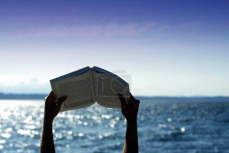 Photo pour Détente en lisant sur la plage (silhouette ) - image libre de droit
