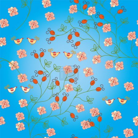 Seamless pattern with hips and birds
