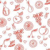 Seamless pattern with sketches of fruits