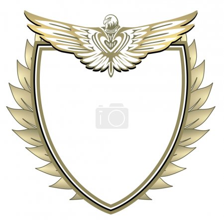 Wappen mit Adler und Blätter