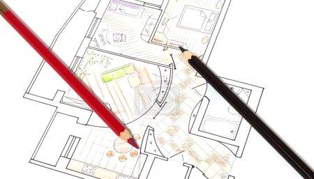 Photo pour Stylo et plans architecturaux - image libre de droit