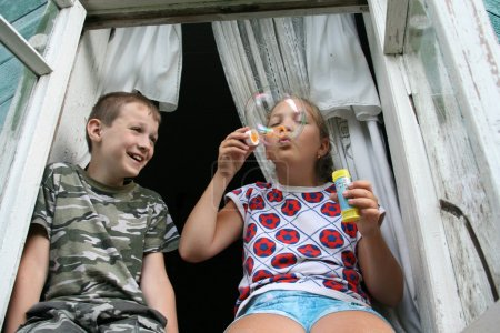 Kids and soap-bubble