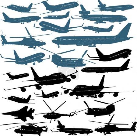 Illustration pour Illustrations vectorielles d'avions passagers, chopters militaire de - image libre de droit