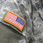 United States flag patch on Iraq war soldier unifo...