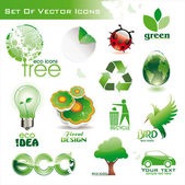 Collection of green eco environmental 3d and 2d icons