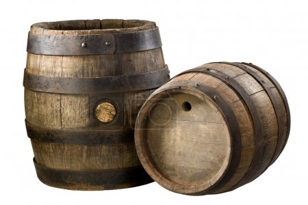Photo for Old wood barrels, vintage on the isolalted white background - Royalty Free Image
