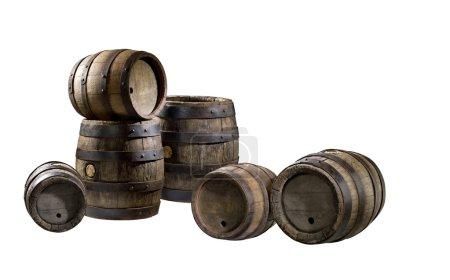 The old wood barrels