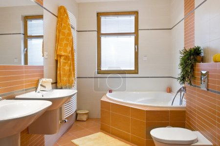 Photo for Interior of new orange bathroom - Royalty Free Image
