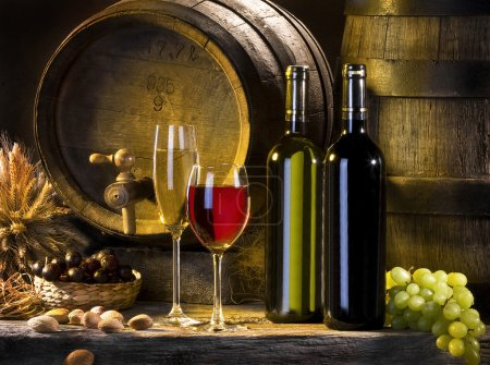 Photo for Still life with wine, old barrels and cluster - Royalty Free Image