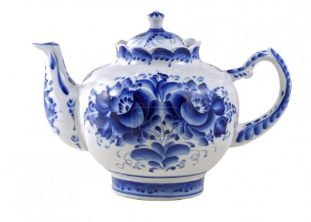White brewing teapot decorated with blue patterns ...