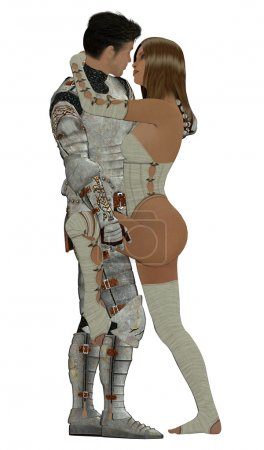 Photo for Knight in shining armour with his queen - Royalty Free Image