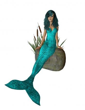 Aqua Mermaid Sitting On A Rock
