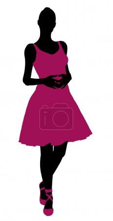 Photo pour Illustration ballerine féminine silhouette sur fond blanc - image libre de droit