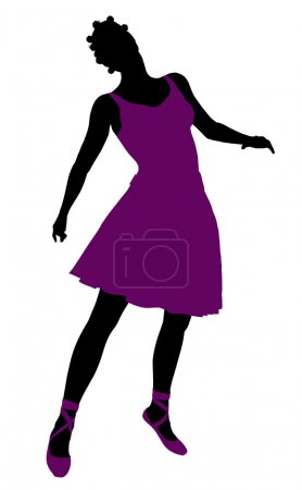 Photo pour Silhouette ballerine féminine afro-américaine sur fond blanc - image libre de droit