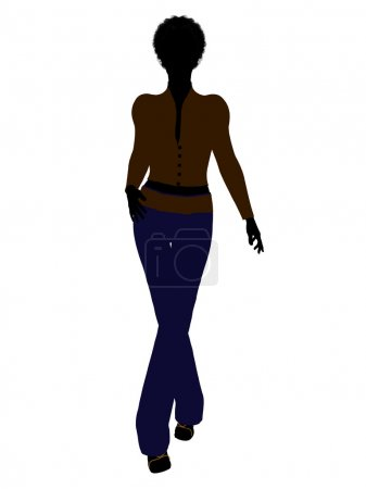 African American Female Office Illustration Silh
