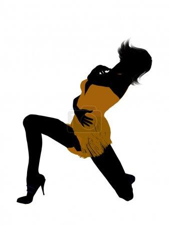 Photo pour Illustration femme showgirl silhouette sur fond blanc - image libre de droit