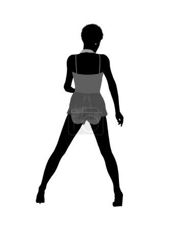 Photo pour Illustration de showgirl afro-américaine silhouette sur fond blanc - image libre de droit