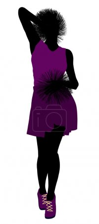 African American Cheerleader silhouette on a whi