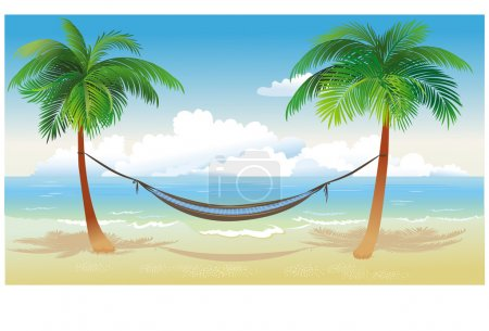 Hammock and palm trees on beach