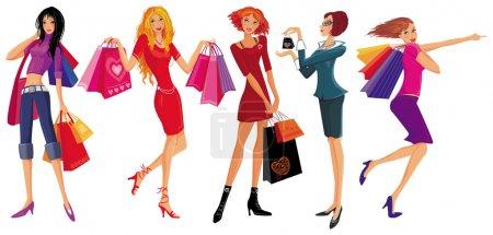 Photo pour Jolie fille de magasinage. illustration vectorielle - image libre de droit