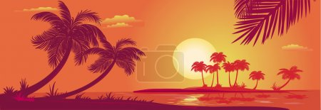 Illustration for Sunset with palms at sea - Royalty Free Image