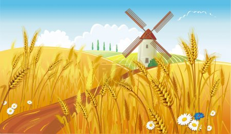 Illustration for Rural landscape with windmill - Royalty Free Image