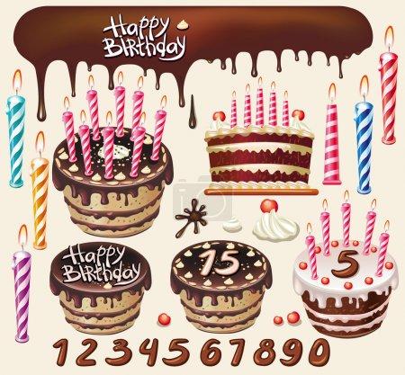 Illustration pour Set de gâteaux au chocolat et décoration d'anniversaire - image libre de droit