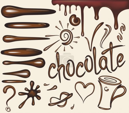 Set brushes of chocolate drips