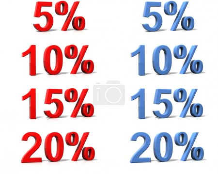 3D rendered percentage signs on white background...