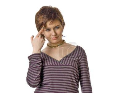 Photo pour Fille emo réfléchie isolée sur fond blanc - image libre de droit
