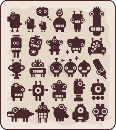 Illustration pour Robots étrangers sont arrivés sur notre planète pour se faire des amis avec nous . - image libre de droit