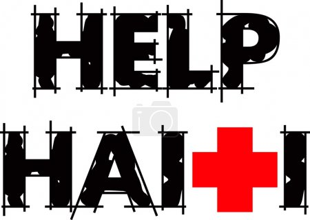 Illustration for Vector Illustration to Help Haiti with Red Cross. - Royalty Free Image