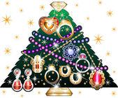 Christmas Tree made of jewelry Vectir Illustration