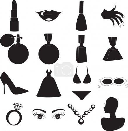 Photo pour 16 icônes de silhouette vecteur pour la beauté ou de la mode. également disponible sous forme de boutons et en couleur - image libre de droit