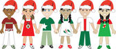Vector Illustration of 6 kids of different ethnic backgrounds for the Holidays