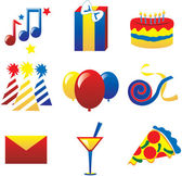 Nine fun party icons Vector Illustration easy to edit I used the 3 primary colors