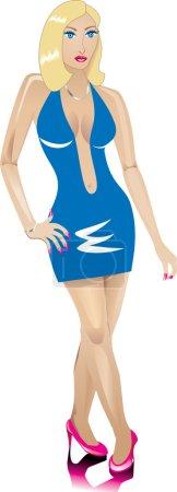 Illustration pour Une femme blonde habillée à la mode pour une soirée . - image libre de droit