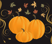 Vector Illustration for Fall Autumn Leaves and Pumpkins with decorative scroll
