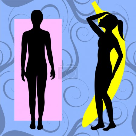 Illustration for Vector Illustration of female body shape banana also known as ruler. Shape with few curves. - Royalty Free Image