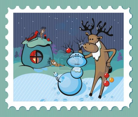 Illustration for Christmas comic stamp for your congratulations - Royalty Free Image