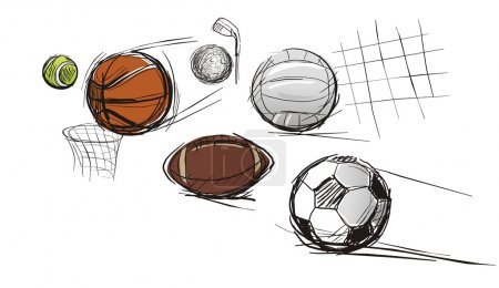 Illustration for Balls for different kinds of sports: tennis-ball, basketball, football, volleyball, a ball for a golf and for Rugby football - Royalty Free Image
