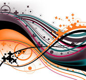 Beautiful black and orange background with wavy line with arrows crosses and circle