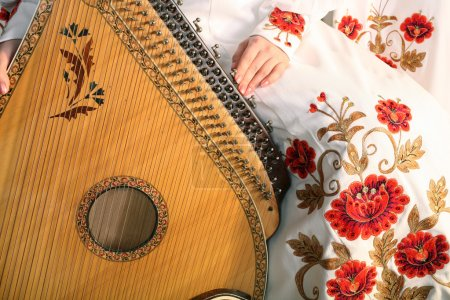 Photo pour L'instrument traditionnel ukrainien sur le fond de la robe traditionnelle ukrainienne - image libre de droit