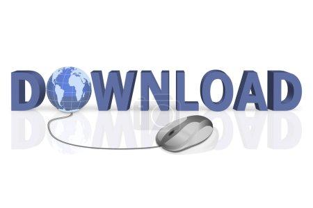 Photo pour Clic de la souris pour télécharger word 3d avec globe incorporé - image libre de droit
