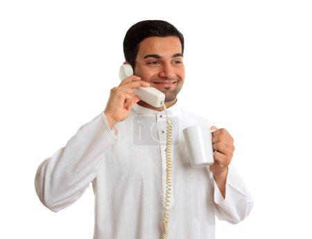Tradition ethnic businessman talk phone