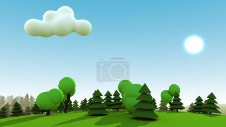Photo pour Paysage de forêt verte avec soleil, ciel bleu et un nuage de dessin animé. rendu 3D. - image libre de droit
