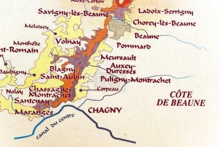 Map of burgundy region