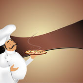 Background with cute chef serving delicious pizzalabel for yout text